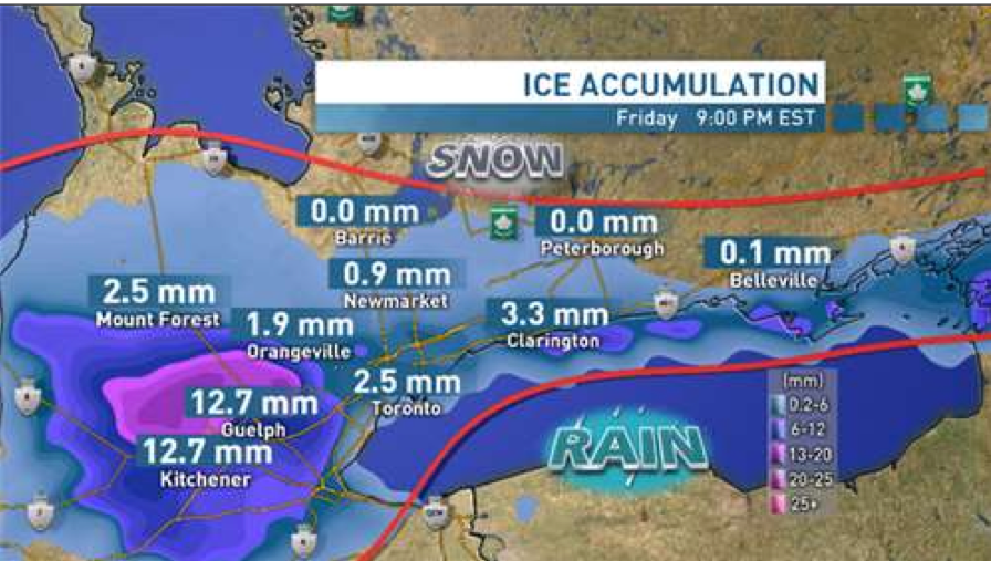 Fig.1 - Map of precipitation pattern in Ontario for December 20, 2013 from CBC News
